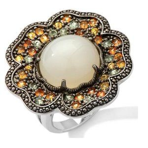 Sima K Moonstone and Sapphire Sterling Flower Ring